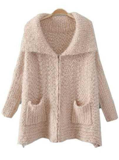 White Lapel Long Sleeve Zipper Batwing Cardigan Sweater