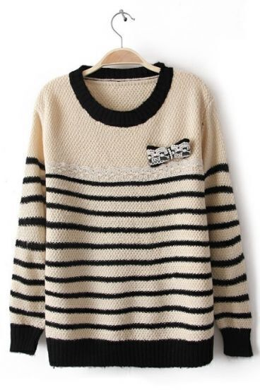 Black Apricot Long Sleeve Striped Bow Sweater