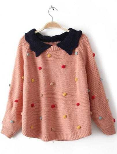 Pink Lapel Long Sleeve Colored Balls Embellished Sweater