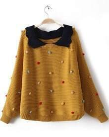Yellow Lapel Long Sleeve Colored Balls Embellished Sweater