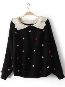 Black Lapel Long Sleeve Colored Balls Embellished Sweater