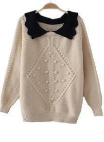 Beige Lapel Long Sleeve Balls Embellished Sweater
