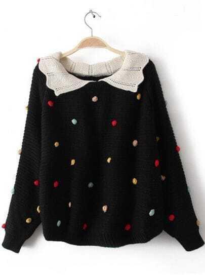 Black Lapel Long Sleeve Colored Balls Embellished Sweater