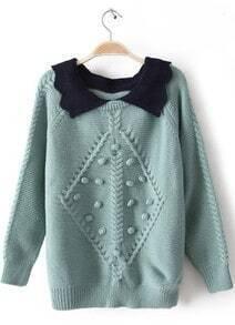 Blue Lapel Long Sleeve Balls Embellished Sweater
