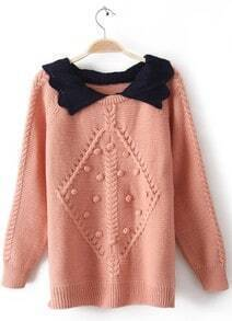 Pink Lapel Long Sleeve Balls Embellished Sweater