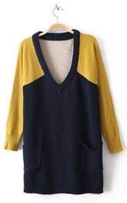Navy Yellow Long Sleeve Pockets Pullovers Sweater