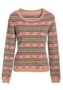 Khaki Long Sleeve Heart Striped Pullovers Sweater