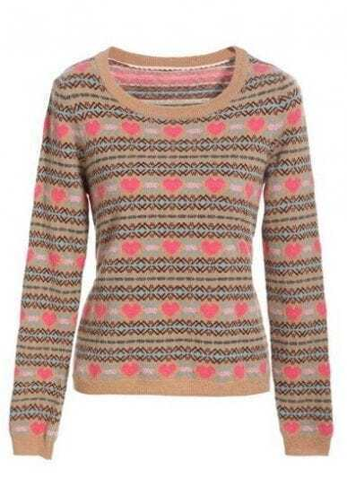 Khaki Long Sleeve Heart Striped Pullovers Sweater