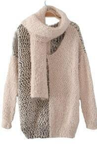 White Long Sleeve Scarf Mohair Pullovers Sweater