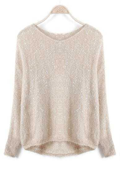 Beige Long Sleeve Sequined Loose Batwing Sweater
