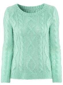 Green Long Sleeve Hollow Mohair Pullovers Sweater