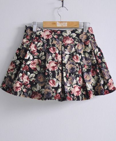 Red High Elastic Waist Floral A Line Pleated Skirt