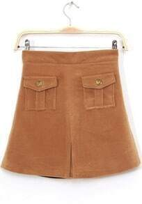 Camel Buttons Pockets Embellished Skirt
