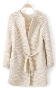 White Long Sleeve Drawstring Waist Cardigan Sweater