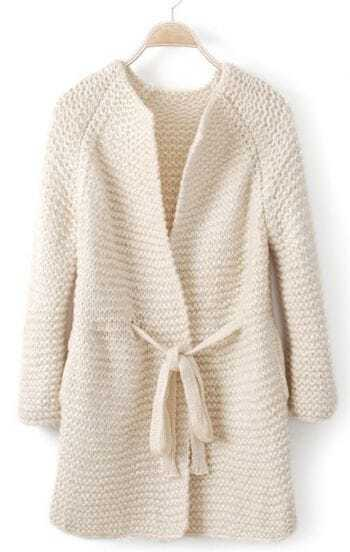White Long Sleeve Drawstring Waist Cardigan Sweater