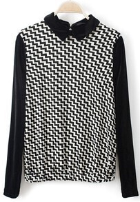 Black Lapel Long Sleeve Zigzag Geometric Sweater