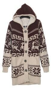Khaki Deer and Snowflake Christmas Pattern Hooded Sweater Coat