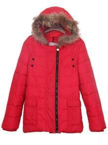 Red Fur Lined Hooded Pockets Front Down Filled Coat