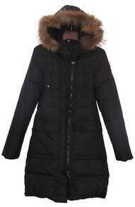 Black Detachable Fur Hooded Flap Pockets Down Long Coat