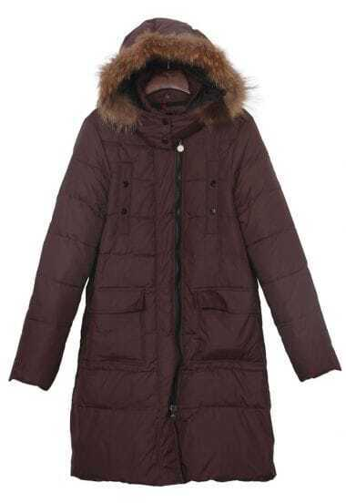 Brown Detachable Fur Hooded Flap Pockets Down Long Coat