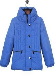 Blue High Collar Zip Pockets Down Jacket
