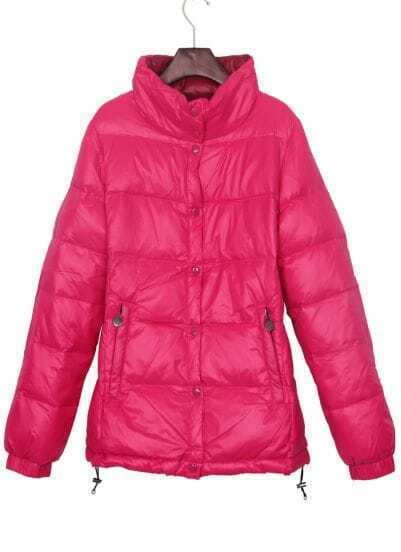 Rose Red High Collar Drawstring Hem Down Jacket