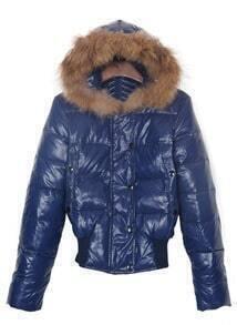 Navy Fur Trimed Hooded Elastic Hem Down Jacket