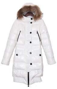 White Fur Hood Elastic Hem Long Down Coat with Belt