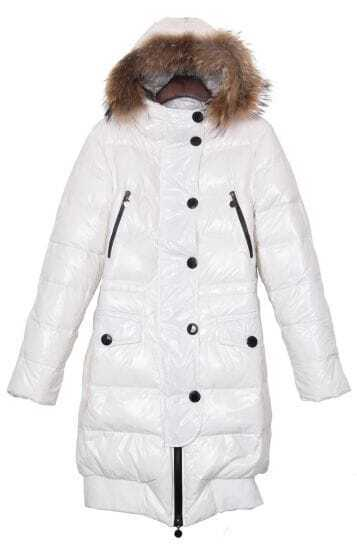 White Fur Hood Elastic Hem Long Down Coat with Belt