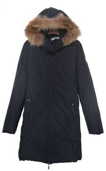 Navy Fur Hooded Zip Side Pockets Down Feather Long Coat