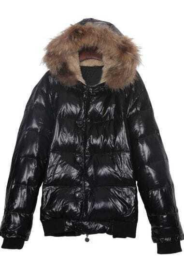 Shinny Black Fur Trim Fleece Hooded Down Jacket