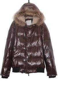 Shinny Brown Fur Trim Fleece Hooded Down Jacket