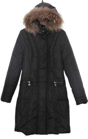 Black Fur Shinny Hooded Down Filled Long Coat