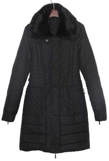 Black Detachable Fur Collar Quilted Long Down Coat