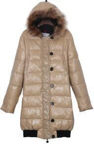 Khaki Fur Trim Hooded Contrst Elastic Hem Long Down Coat