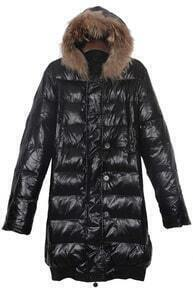 Black Fur Trim Hooded Contrst Elastic Hem Long Down Coat