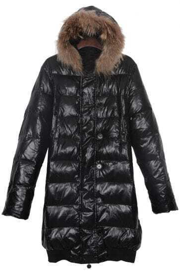 Black Fur Trim Hooded Contrst Elastic Hem Long Down Coat