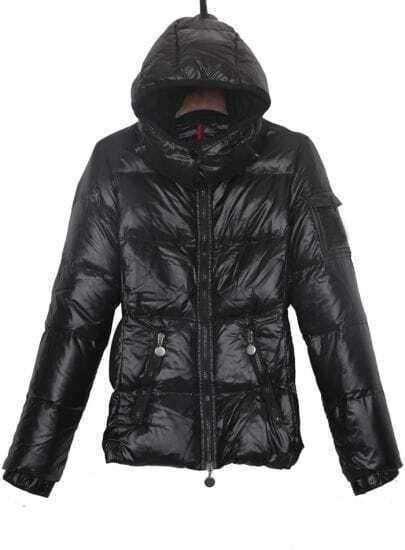 Black Pocket Emebllished Sleeve Hooded Down Jacket