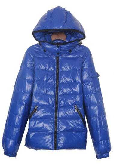 Sapphire Blue Pocket Emebllished Sleeve Hooded Down Jacket