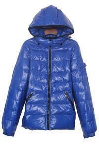 Sapphire Blue Pocket Emebllished Sleeve Hooded Down Jacket