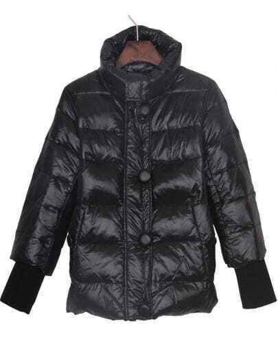 Black High Collar Elastic Knitted Cuffs Down Jacket