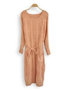 Pink Long Sleeve Drawstring Waist Pockets Cable Knit Sweater Dress