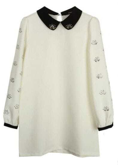 White Lapel Long Sleeve Rhinestone Loose Dress
