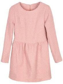 Pink Round Neck Long Sleeve Back Zipper Dress