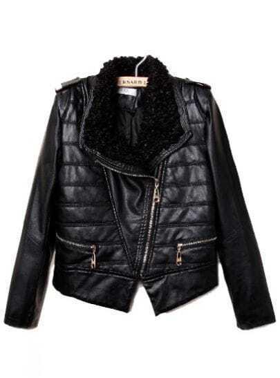 Black Fur Lapel Long Sleeve Epaulet PU Leather Coat