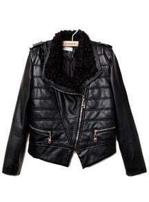 Black Fur Lapel Long Sleeve Epaulet PU Leather Coat