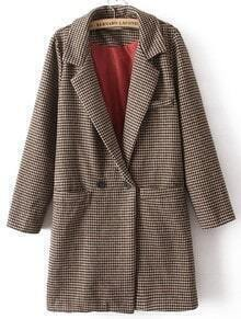 Coffee Lapel Long Sleeve Houndstooth Pockets Coat