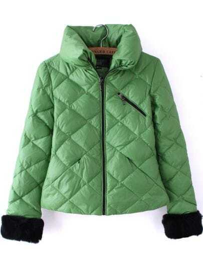 Green High Neck Long Sleeve Diaper Crop Down Coat
