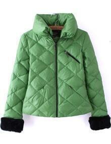 Green High Neck Long Sleeve Diaper Crop Down Coat