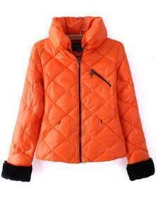 Orange High Neck Long Sleeve Diaper Crop Down Coat